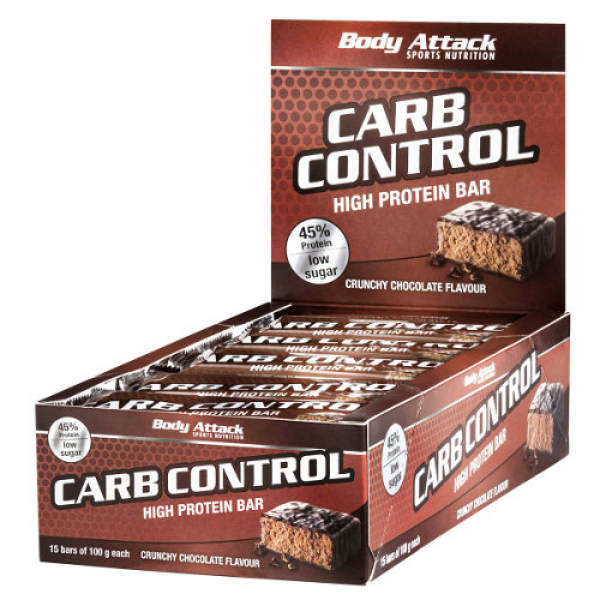 BODY ATTACK Carb Control Riegel 15 Stück / Display